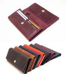 Вместительный Кожаный кошелек на 12 карточек.