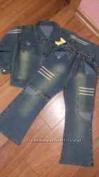 Костюм джинсовый- рубашка - ветровка джинсы на рост 110-122см