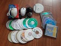 Мышка компьютерная, диски чистые DVD-R