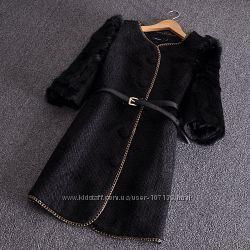 Красивое пальто с мехом кролика