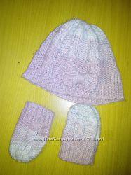 комплект шапка и варежки Mothercare до 6 месяцев