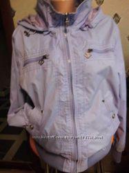 Куртка бомбер красивая батал с капюшоном 52 сиреневая Classic Fashion