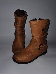 Рыжие кожаные демесезонные ботинки KickersФранция