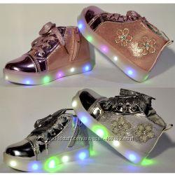 Демисезонные ботинки с мигалками для девочки, 21-31 размер, кожаная стелька