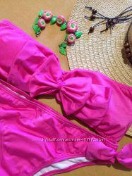 Яркий розовый фуксия купальник с бантом