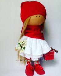 Новогодняя интерьерная куколка ручной работы