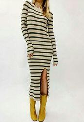 Вязаные платья макси теплые