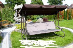 Большая садовая качеля Шарм, Gracja 4-х местная, коричневая, с козырьком. П