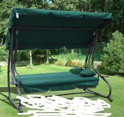 Садовая качеля-диван RAMIZ с козырьком, зеленая. Польша
