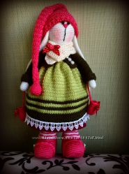 Кукла-тильда зайка Земляничка