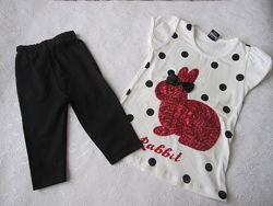 детские комплекты - костюм майка и шорты, футболка и бриджи, лосины, капри