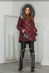 Зимняя куртка-пуховик x-woyz 44 р. бордового цвета