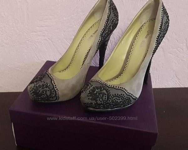 Шикарные замшевые женские туфли, р. 38