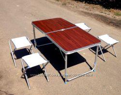 Стол раскладной с 4 стульями для пикника, кемпинга и туризма, чемоданом