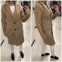 Скидка. Стильное шерстяное пальто Amisu. Бежевое пальто. Размер XS, S, M, X