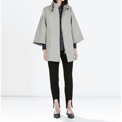ZARA. Стильное пальто кейп. 50 шерсть