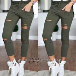 Летние брюки с прорезями