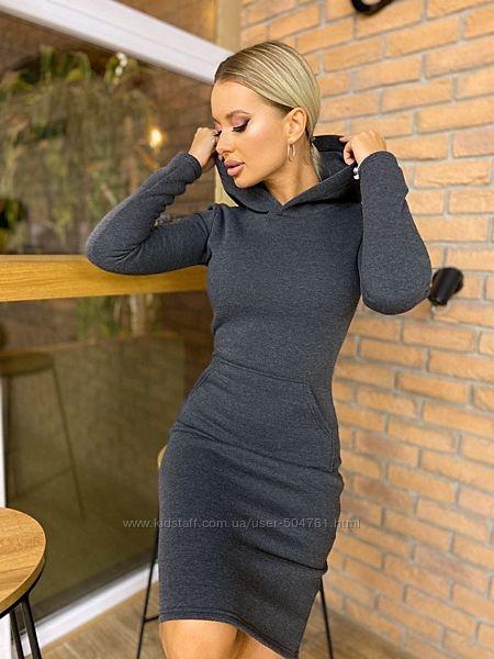 Теплое женское платье спортивное из трикотажа на флисе