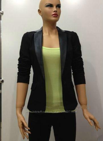 Пиджак черный с лацканами из кожзама, S,  Pimkie