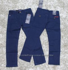 Синие и серые котоновые брюки 116, 134, 146 см.  GRACE.