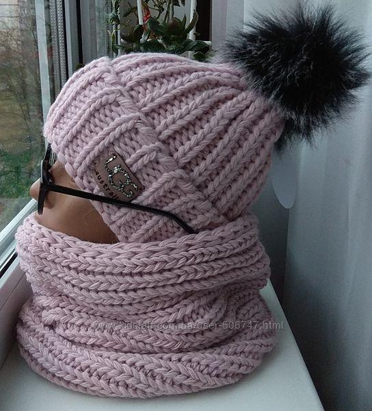 Новый модный комплект шапка с бубономна флисе и снуд труба