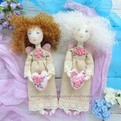 Кукла именной ангел - подарок с именем на сердечке