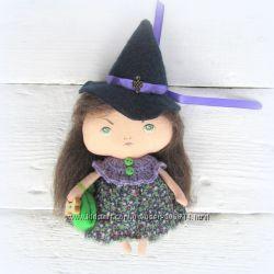 Кукла текстильная  коллекция маленькие ведьмочки с тыквой Тильда