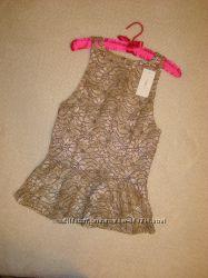 Блуза кружевная с баской и золотой нитью р. 8-10 New Look
