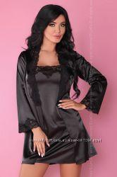 JACQUELINE домашний черный комплект халат пеньюар и стринги