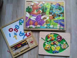 Развивающие игрушки 3шт дерево Пазл  Доска Сшивалка
