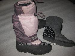 25 см стелька, канадские сноубутсы с валенком Sorel, теплющие зимние сапоги