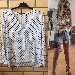 Блуза рубашка в горох