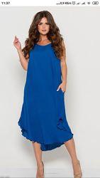 Летнее платье сарафан, в цветах, есть баталы