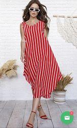 Платье-сарафан с ассиметрией в цветах, есть баталы