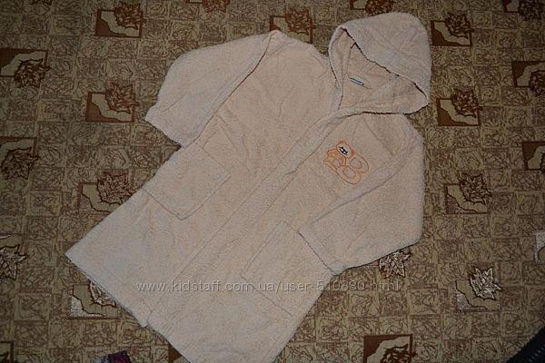 Халат махровый для мальчика 104-110 см с поясом на липучках