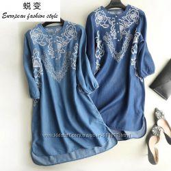 Женские джинсовые платья с вышивкой длинный рукав