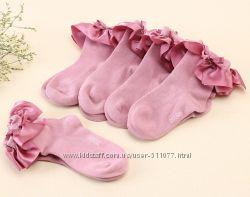 Хлопковые носочки с атласной оборкой, 2-4 года