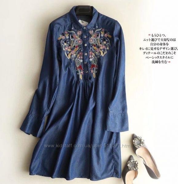Джинсовые рубашки-платья