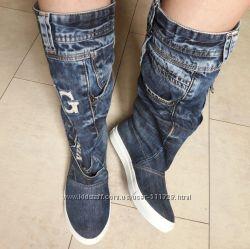Пошив обуви Шикарные джинсовые сапоги спорт
