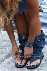 ПоШиВ оБуВи  джинсовые босоножки