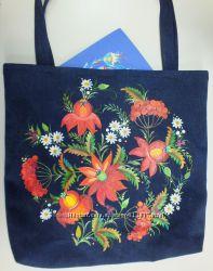 эко-сумки для модниц с декоративной украинской росписью