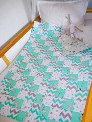 Мятное детское печворк одеяло ручной работы детское покрывало дитяче одіяло