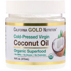 Кокосовое масло органическое нерафинированное, холодного отжима California