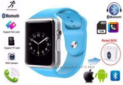Часы A1 Smart apple watch copy - голубые   ремешок