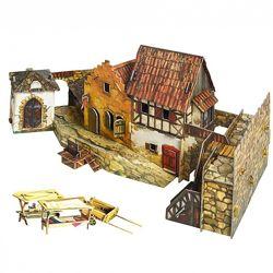 Городская площадь Рынок. 3D пазл, сборная модель из картона.