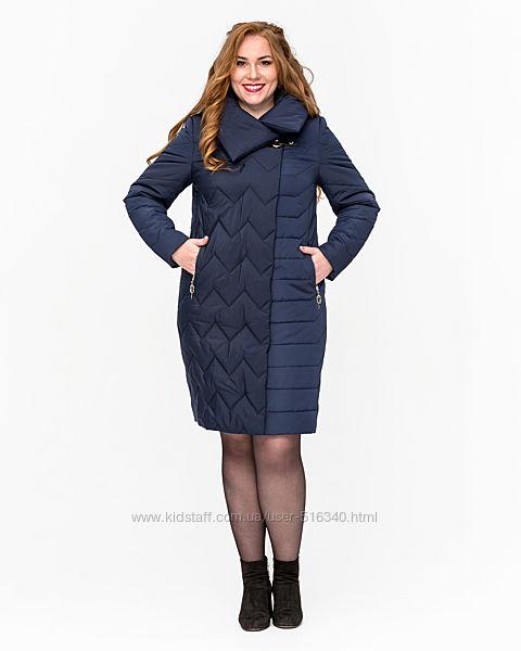 Демисезонная удлиненная куртка, синий цвет, 58 р.