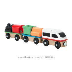 Дополнительный поезд паровоз и вагончики к железной дороге IKEA LILLABO