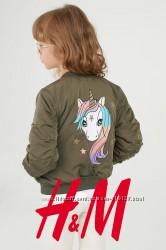Демісезонні куртки з принтом Єдинорога для дівчат 2-9 років від H&M Швеція