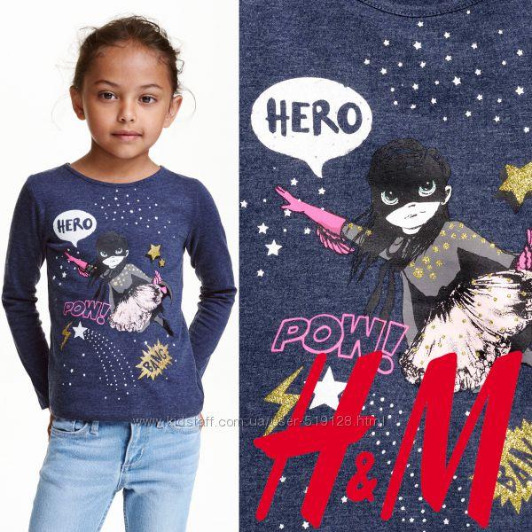 Яскраві реглани для дівчат 2-10 років з принтами від фірми H&M Швеція