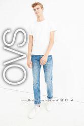 Прямі чоловічі джинси з потертостями M від фірми OVS Італія